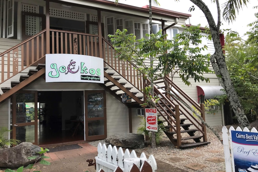 The front entrance of a backpacker lodge in Cairns