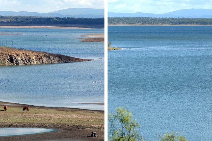 The view across Wivenhoe Dam during drought in 2007 and after the drought broke in 2009.