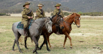 Lyn Richardson (left) rides in the NSW Capertee Valley.