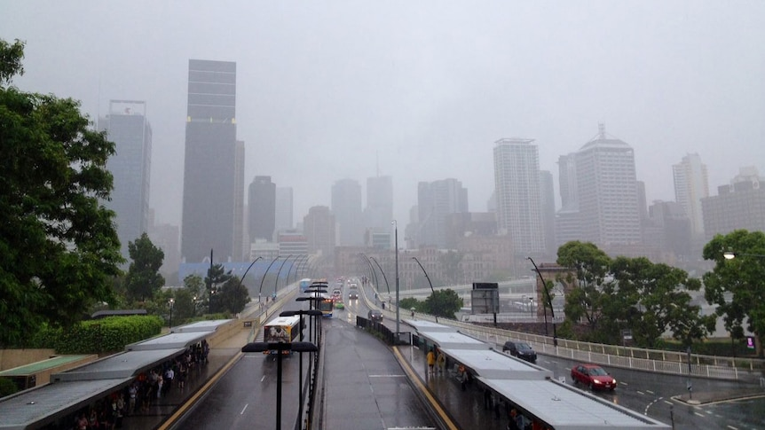 A wet journey to work on Friday for commuters heading into the Brisbane CBD.
