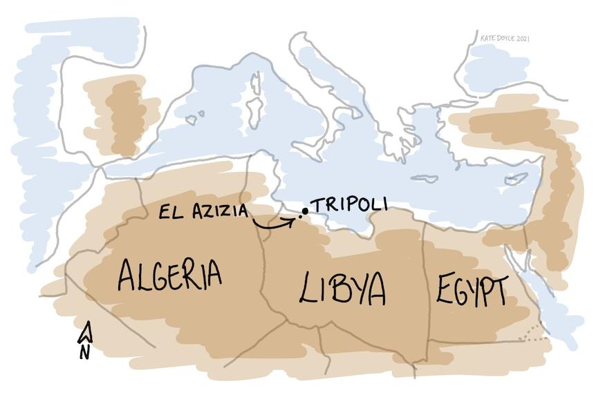 Un boceto de un mapa que muestra las temperaturas.
