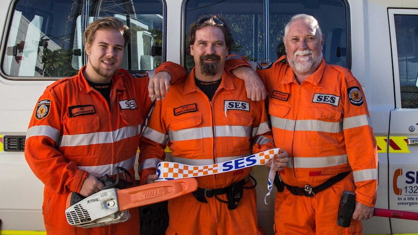 19-year-old Andy, his father David and grandfather Jim MacLean all volunteer for the SES.