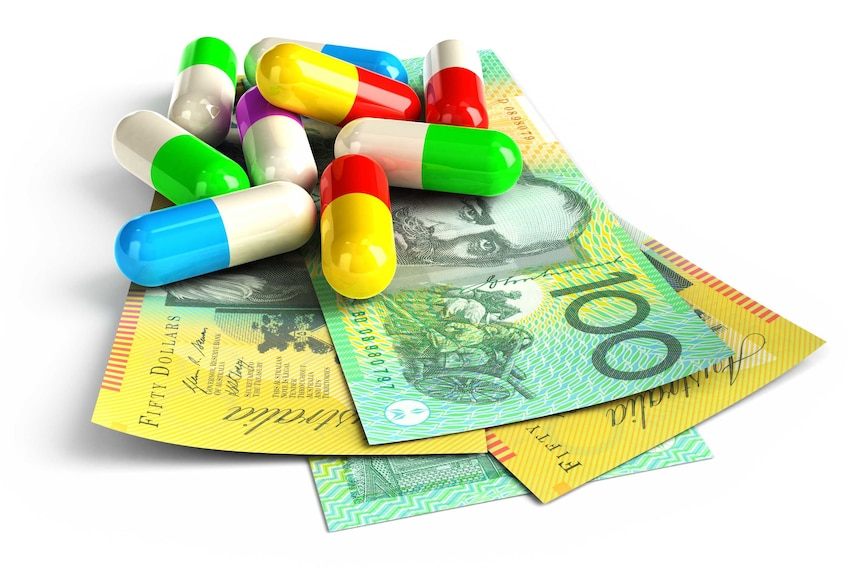 Colour pills on top of Australia dollar notes.