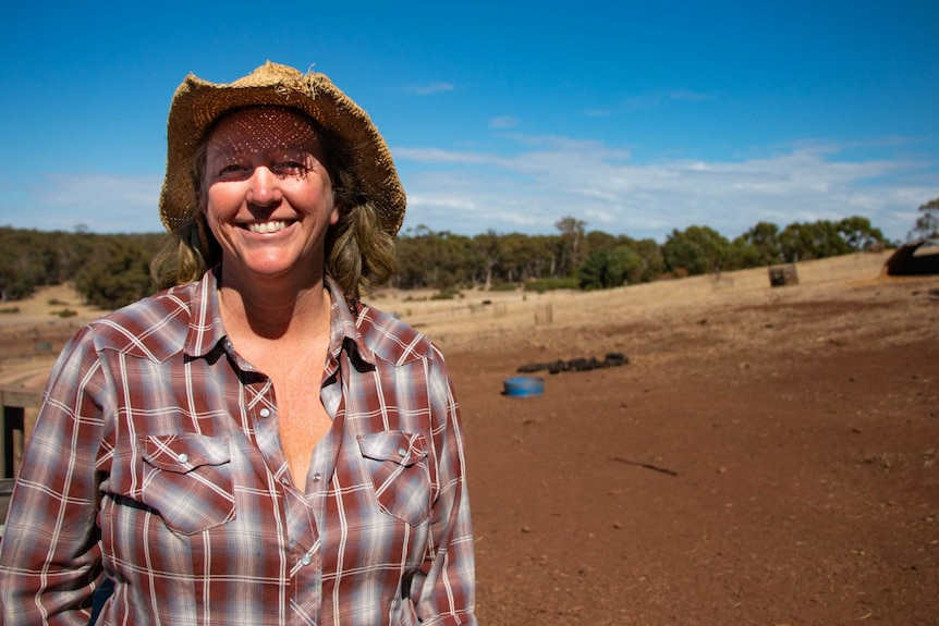 Tammi Jonas on her pig and cattle farm in central Victoria.