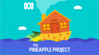 The Pineapple Project cover art: a pineapple boat containing a house floats on a purple sea.