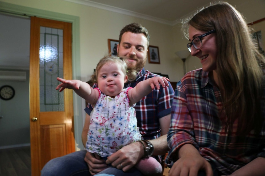 Kathleen and Andrew Simpkins with their daughter Elva