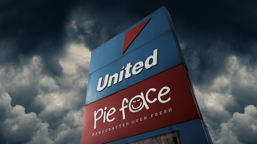 A graphic showing the United Petrol station and Pie Face signs.