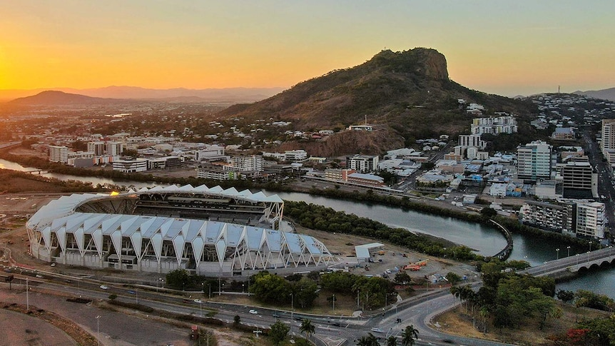 Aerial image of Townsville city showing the new stadium in the foreground.