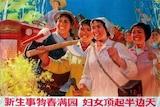 """一副七十年代的宣传画写着""""新生事物春满园,妇女顶起半边天""""。"""