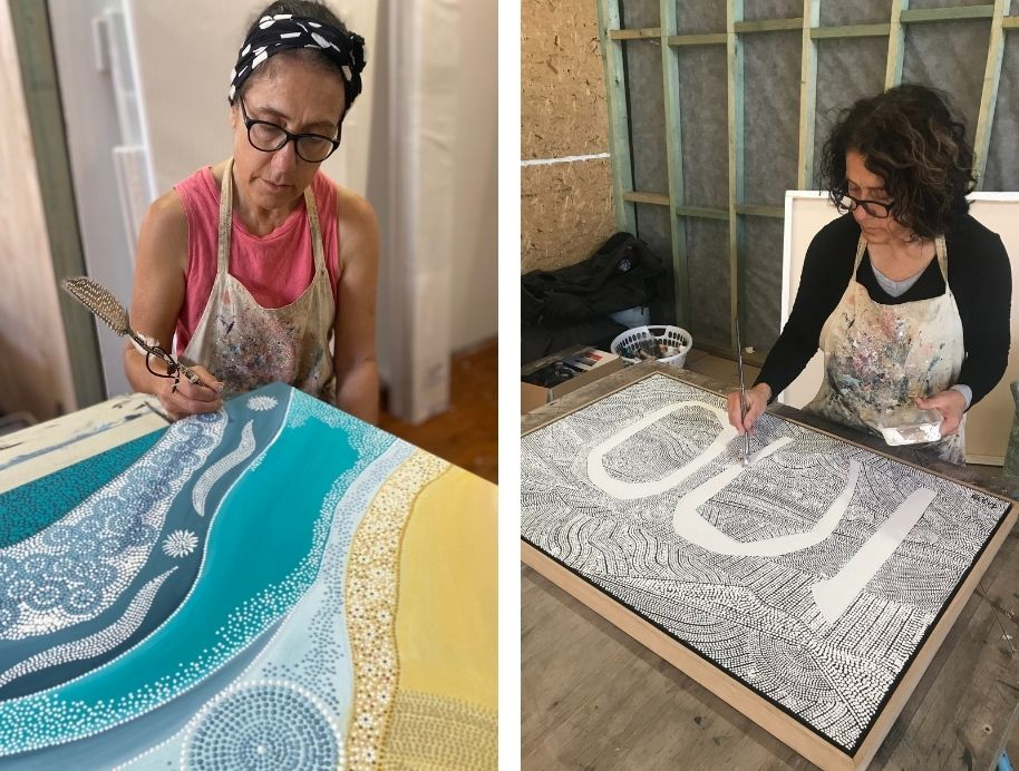 Two photos side byside of indigenous artist Lizzy Stageman painting her art.
