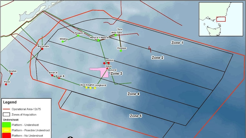 A map showing the area off the coast of the Eastern Victoria that CGG will survey.