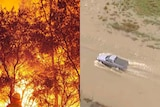 LtoR A firefighter tackles a bushfire and a car drives through floodwaters