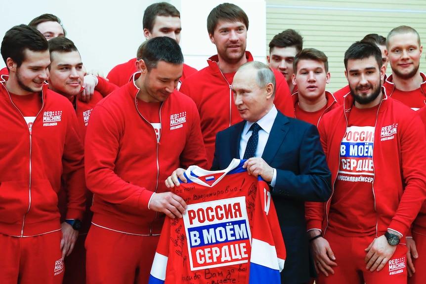 Vladimir Putin meets Russian ice hockey players outside Moscow