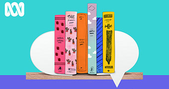 An illustrated bookshelf on a blue and purple background.