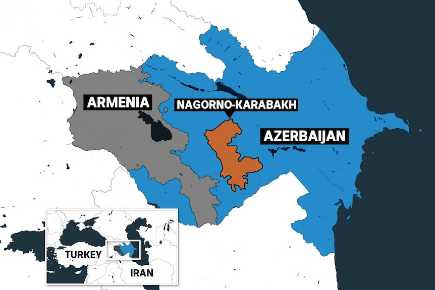 Map of Armenia and Azerbaijan, showing the disputed region of Nagorno-Karabakh.
