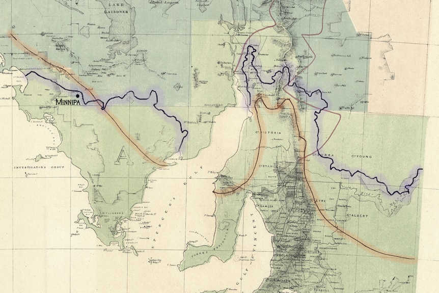 Goyder's map with highlight, Minnipa and CSIRO