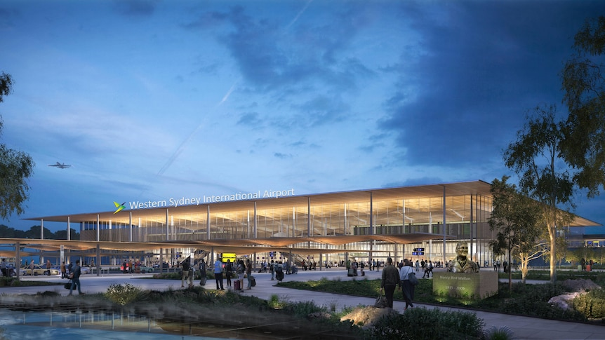 an image of people walking outside a building at new airport