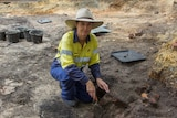 Archaeologist Fiona Hook onsite in Fremantle.