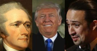 Alexander Hamilton, Donald Trump and Lin Manuel Miranda.