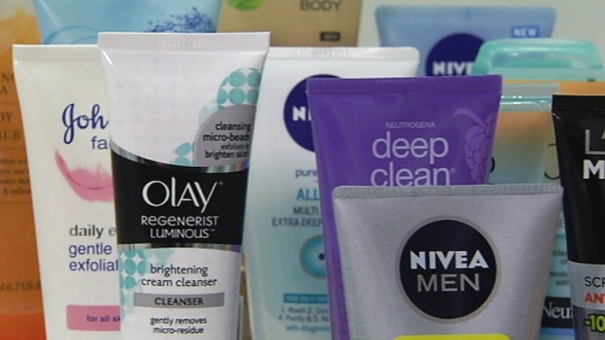 Various cosmetic cleansers and products containing microbeads, microplastics, polyethylene.