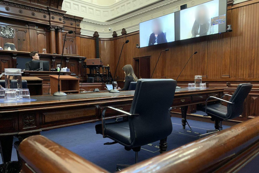 A dark wooden court room has only two people in it, and two people on screens.
