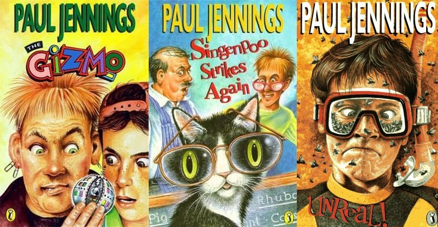 Book covers the Paul Jennings books Gizmo, Singenpoo and Unreal.