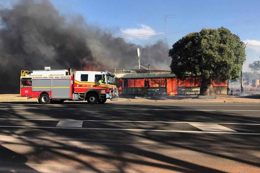 A country pub engulfed in flames