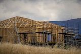 Wooden frame of a house under construction.