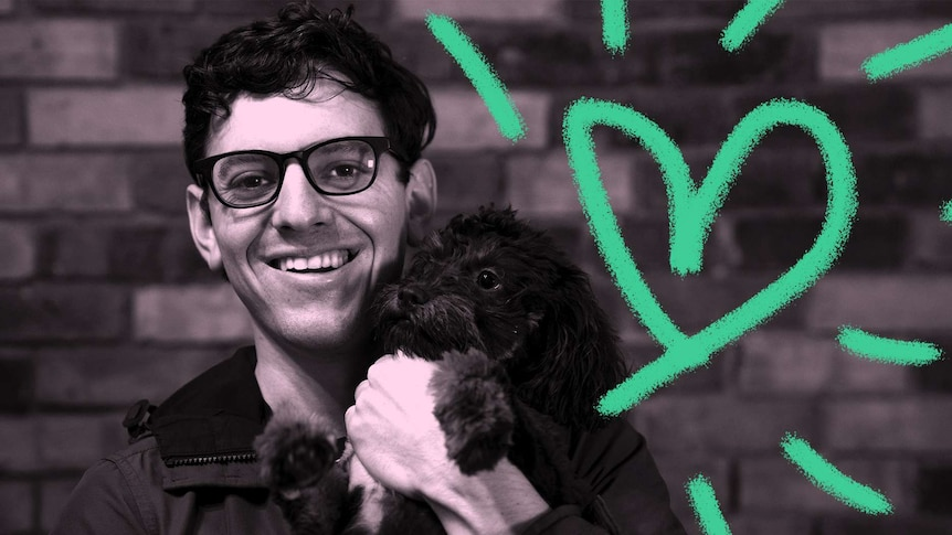 A black and white image of a man holding his dog next to a heart shown for a story on pet insurance.