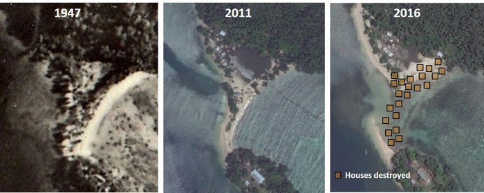 graphic shows island example of solomon island changes between 1971 and 2014