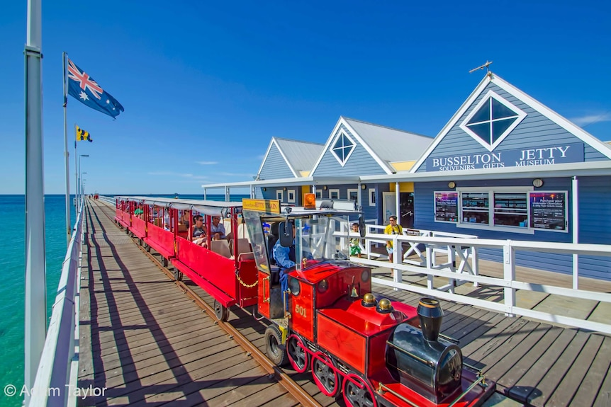 Busselton Jetty Train carrying tourists in south-west WA.