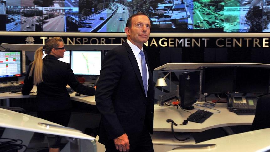 Tony Abbott visits transport centre in Sydney