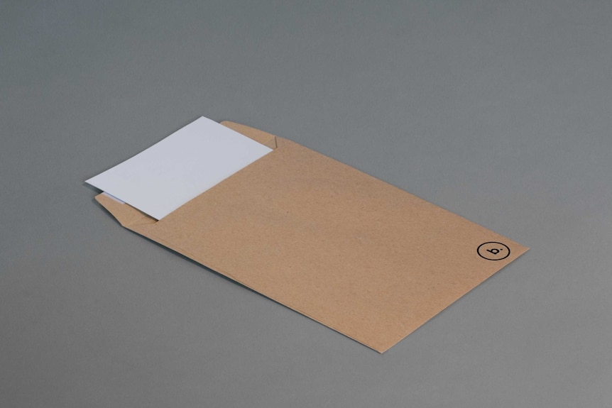 A white letter in a brown envelope.
