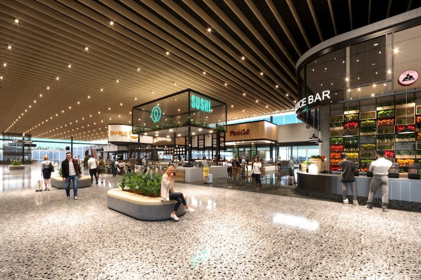 An artist impression image of the upgraded retail district within the Adelaide Airport.