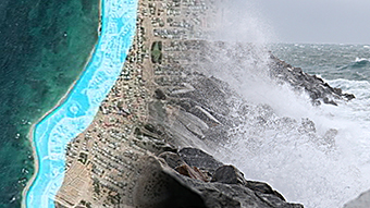 A coastline with a blue outline along it, overlaid with a picture of a wave smashing into rocks.
