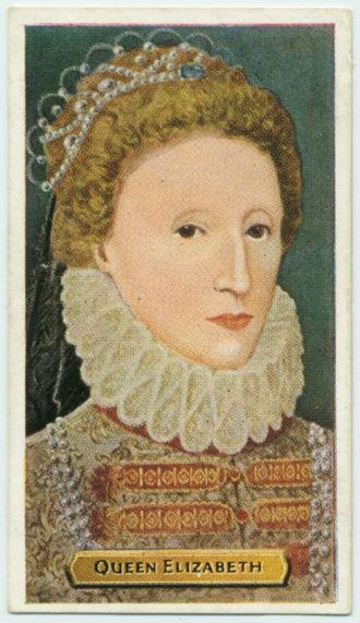 A portrait of Elizabeth I in a ruffled collar with minimal eyebrows