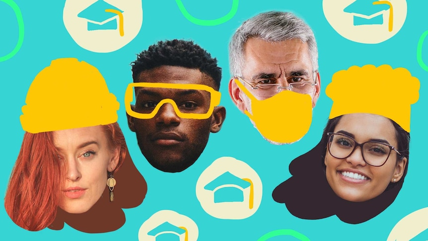 Illustration of people wearing hats for different jobs, like construction and medicine, they are changing careers through study.