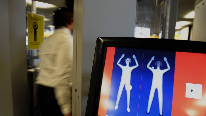 A body scanner at an airport