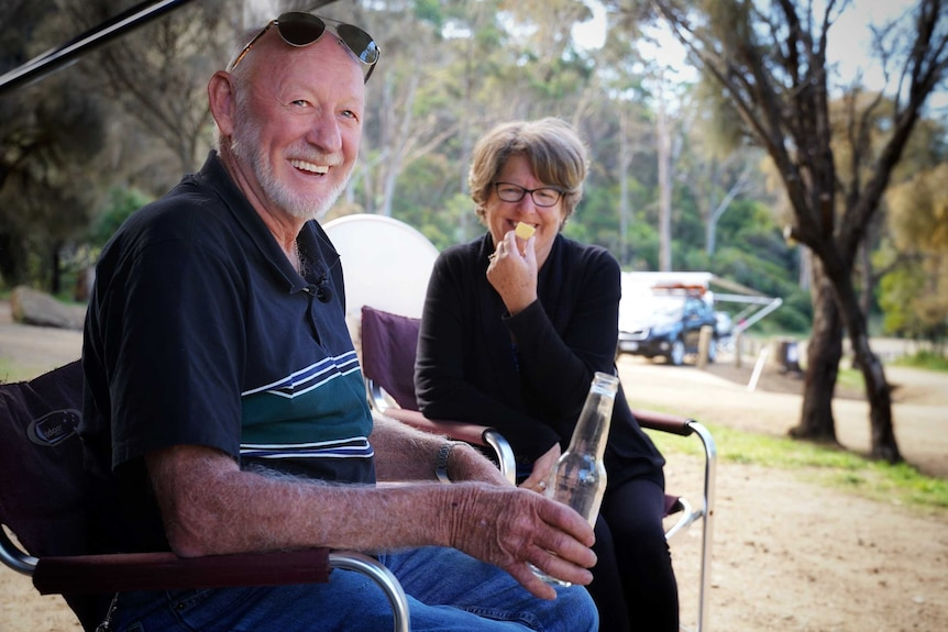 Queensland caravanners Chris and Jaye Phillips, Tasmania, April 2019.