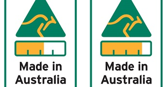 Two Australian Made labels showing percentage of product made in Australia.