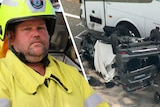 A montage of a firefighter and a car crash.