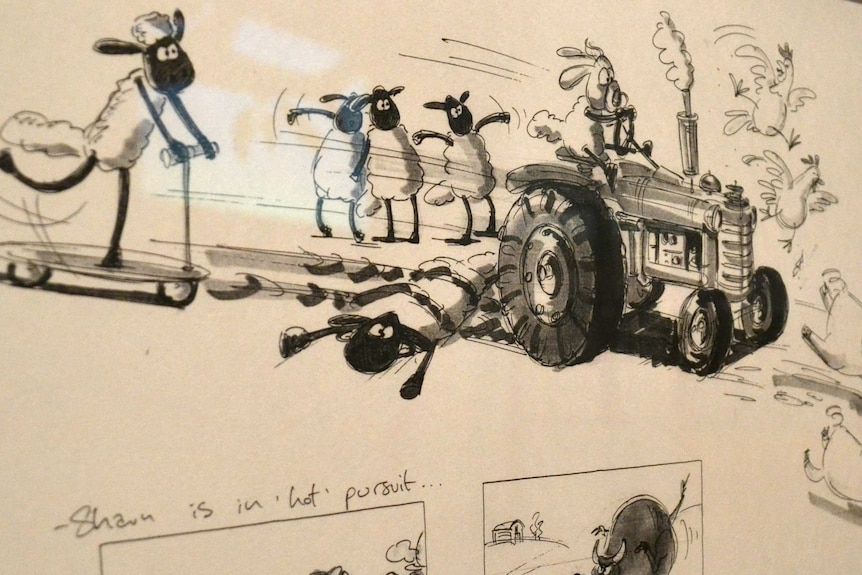 Sketch of Shaun the Sheep characters being hot by tractor.