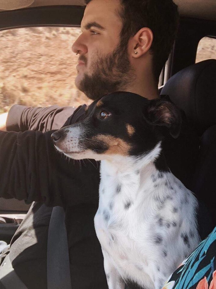A man with dark hair, facial hair and an earring driving in a car. A small dog sits next to him.