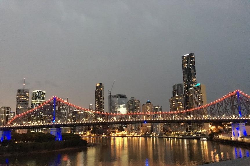 Brisbane's Story Bridge lights up red, white and blue