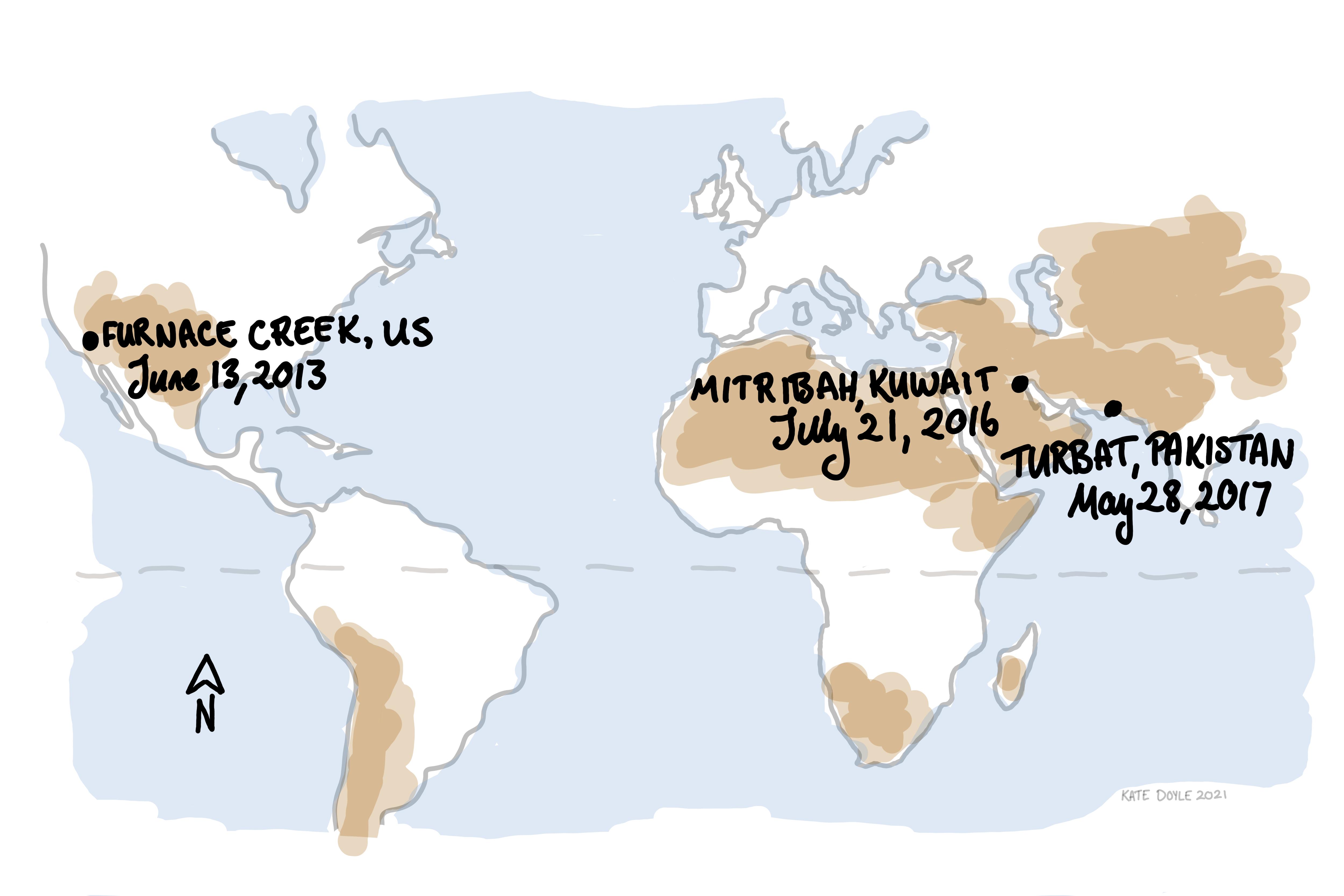 Mapa que indica las ubicaciones de Furnace Creek, Mitribah y Turbat