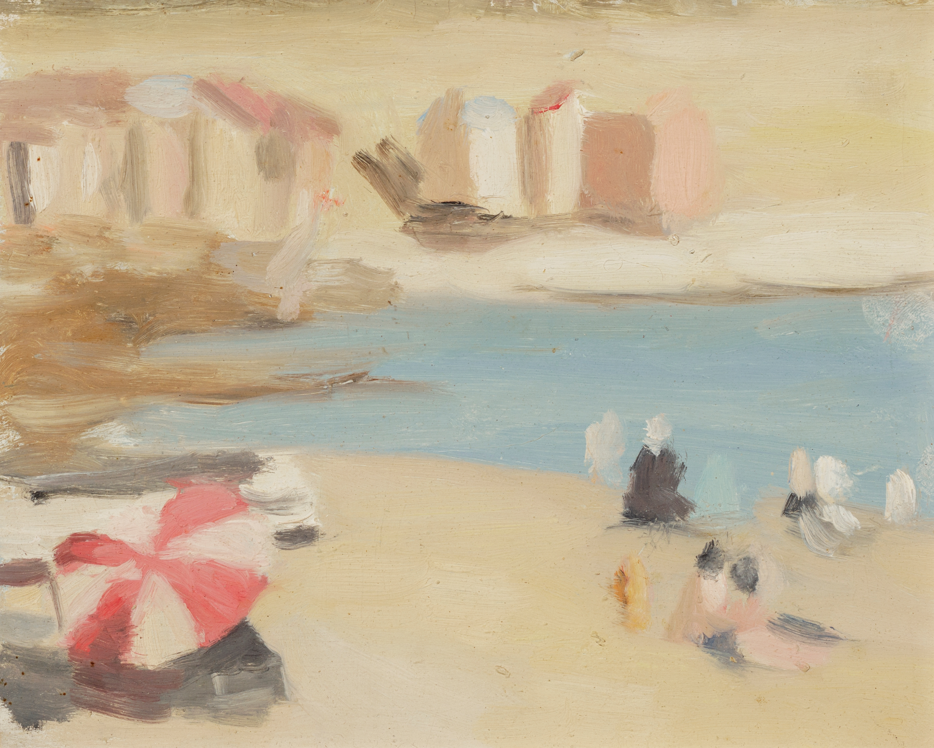 A painting by Clarice Beckett, blurry realism, of people and bathing boxes on Brighton Beach