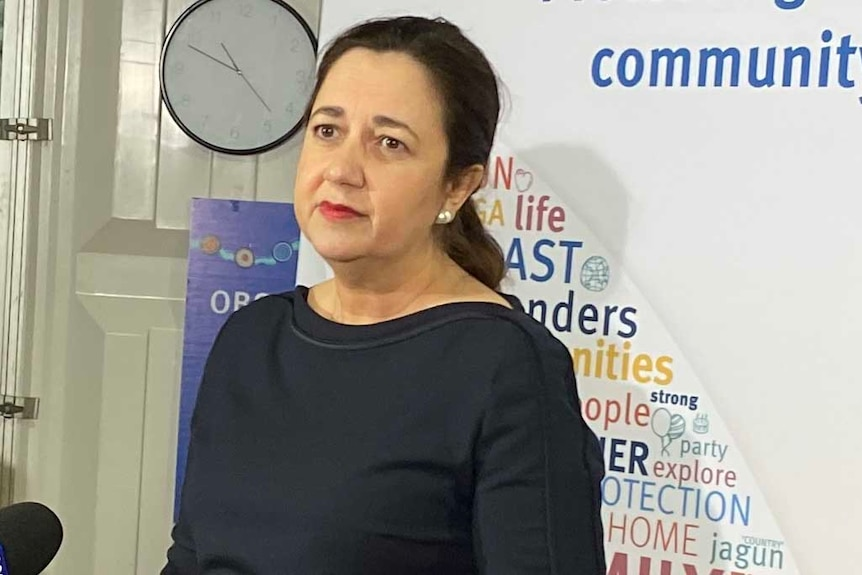Queensland Premier Annastacia Palaszczuk responds to media questions about the state's handling of the COVID-19 pandemic