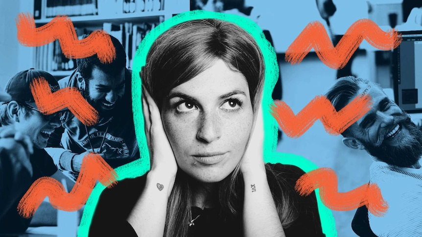 Collage shows a woman covering her ears while workers talk in the background to depict how to stay focused in open plan offices.