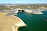 A drone shot of the Wivenhoe Dam