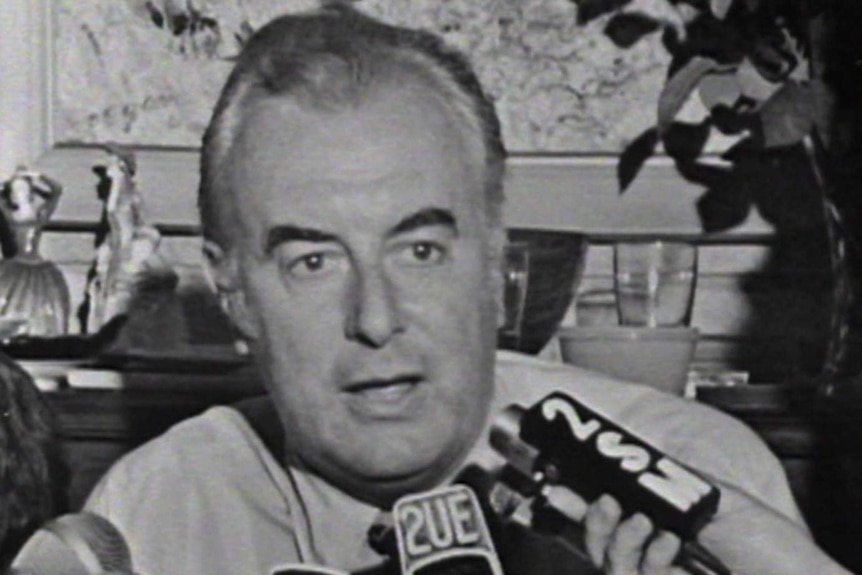 Gough Whitlam gives an interview on election night in 1972 after he was voted in as prime minister.
